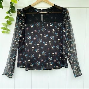 Zara Sheer Floral Ruffle Detail Long Sleeve